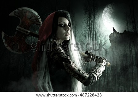 Dark Red riding hood in a forest