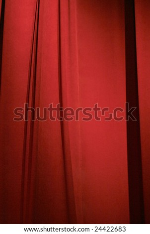 dark red stage curtain closed for background or wallpaper - stock photo