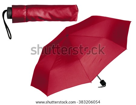 Dark red Umbrella on white background - stock photo