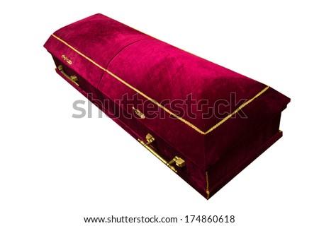Dark red velvet coffin - stock photo