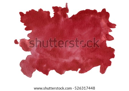 Dark red watercolor background hand painted on white