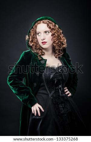 Dark redhead beauty - stock photo