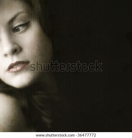 Dark retro woman looking away with grungy texture