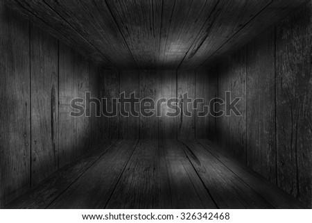 Dark room in black and white - stock photo