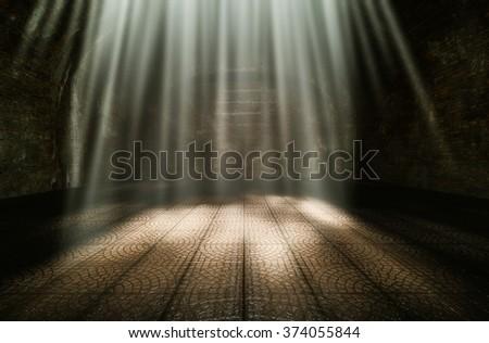 Dark room in the morning sun shone beautifully 3d rendering. - stock photo