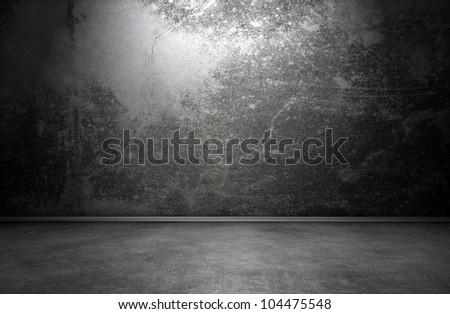 Dark room interior with cracks - stock photo