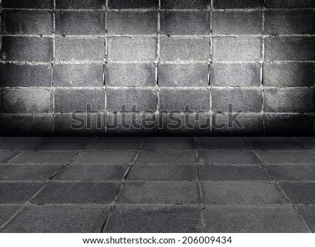 Dark room with   brick wall background
