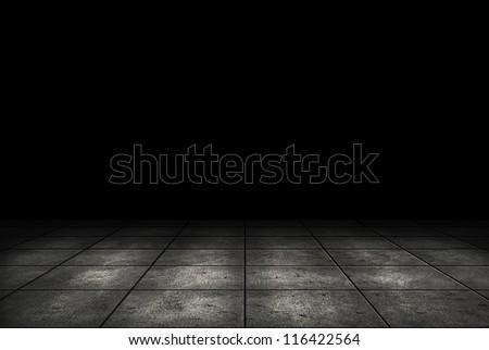 Dark room with tile floor background - stock photo