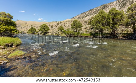 Dark rough river. Green trees growing on the river bank. Scenic landscape at  Boiling River Trail, Yellowstone National Park, Wyoming