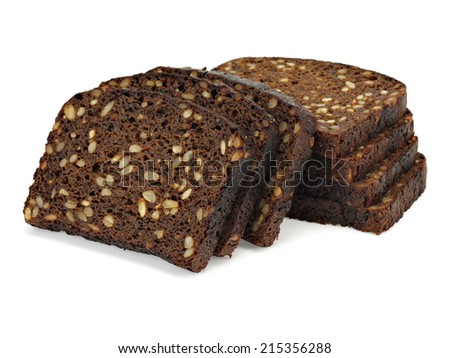 Dark rue bread with sunflower seeds on a white background - stock photo