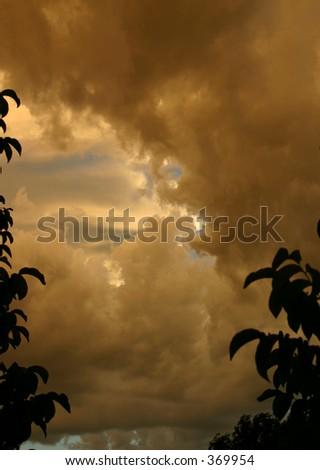 Dark Rusty Utah Storm Clouds - stock photo