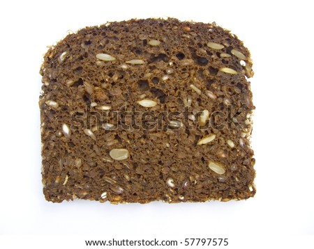 dark rye bread isolated on white background - stock photo