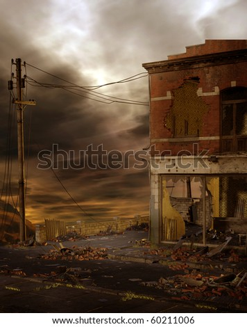 Dark scenery with a ruined street - stock photo