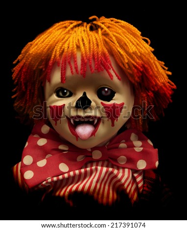 Dark series - spooky clown. Isolated over black - stock photo