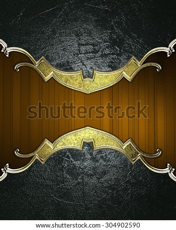 Dark shabby background with gold edges on a brown background. Element for design. Template for design. copy space for ad brochure or announcement invitation, abstract background