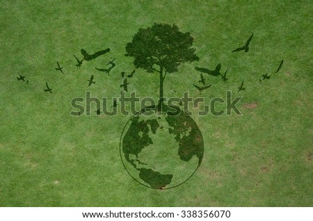 dark shadow of growing tree plant on earth sphere map graphic around with flying birds, on green dirt grass background. ecology concept - stock photo