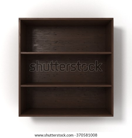 dark shelves with three sections isolated on white background - stock photo