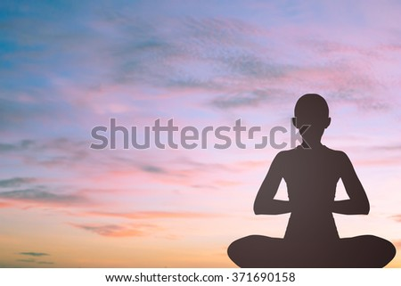 dark silhouette black asian woman in yoga on blurred beautiful hour sunset sky background landscape:woman girl in pattern exercise healthy:concentrate zen female concept.calmness/powerful conceptual - stock photo
