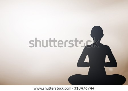 dark silhouette black asian woman in yoga on blurred tan brown sepia landscape background landscape:woman girl in pattern exercise healthy:concentrate zen female concept.calmness/powerful conceptual - stock photo