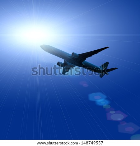 dark silhouette of airplane flying over dark blue sky with sun rays reflected background