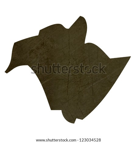 Dark silhouetted and textured map of New Brunswick province of Canada isolated on white background. - stock photo