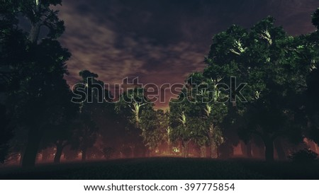 Dark Sinister Mysterious Magic Forest 3D Illustration