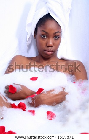 Dark Skinned African American Woman in Bath - stock photo
