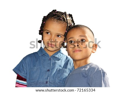 Dark-skinned children, a mulatto boy and a girl on a white background