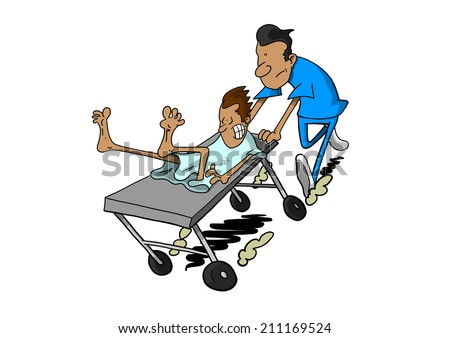 Dark skinned man being rushed on gurney - stock photo