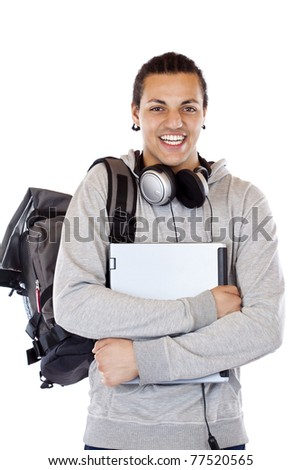 Dark-skinned Student with headphones carries notebook and smiles.Isolated on white background.