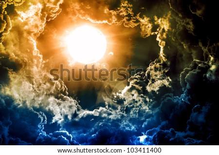 dark sky with sun - stock photo