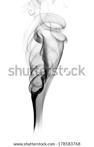 Dark smoke isolated on white background.