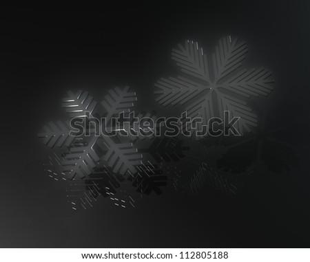 Dark snowflakes with reflexion on black - stock photo
