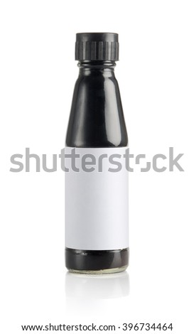 Dark soy sauce bottle mockup template ready to design, isolated on white background. - stock photo