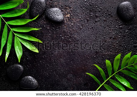 Dark spa background, moisturizing concept, palm leaves and black stones on a dark wet surface, top view - stock photo