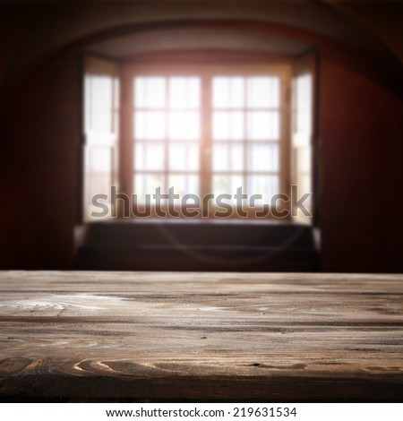 dark space desk of wood and window in wall  - stock photo