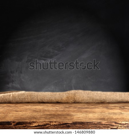 dark space for text and wooden top  - stock photo