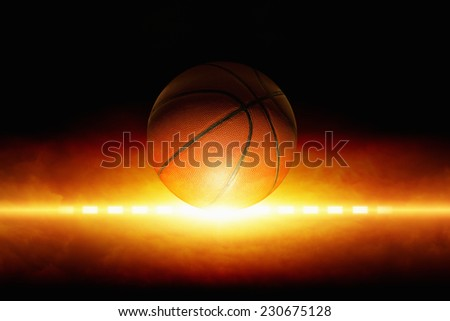 Dark sports background - basketball, bright light from glowing horizon - stock photo