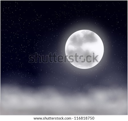 Dark Starry Nigh, Clouds and Full Moon - stock photo
