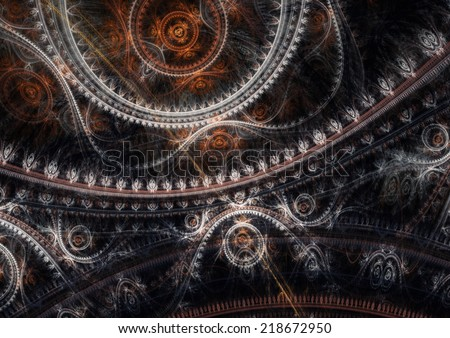 Dark steampunk abstract mechanical background - stock photo