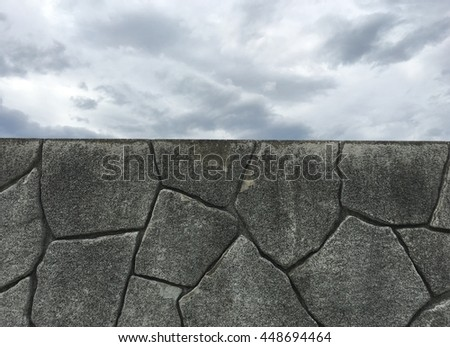 dark stone and cloudy sky for background