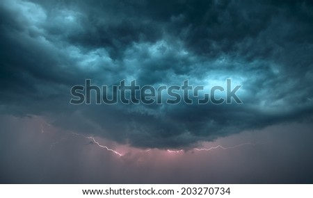 dark storm clouds and lightning strike are in sky