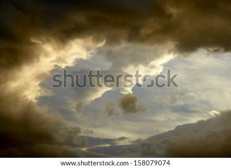 Dark storm clouds background - stock photo