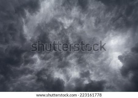 dark storm clouds on sky before the rain - stock photo