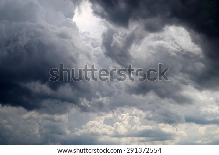 dark storm clouds on the sky before raining - stock photo