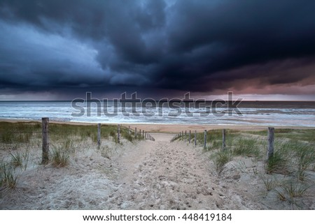 dark stormy clouds over North sea, Netherlands