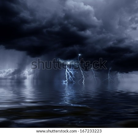 Dark stormy clouds over the ocean