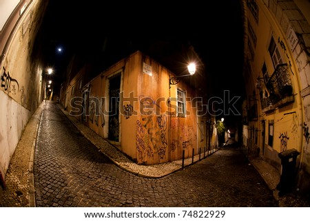 Dark streets in the old part of town