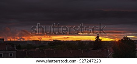 Dark sunset sky