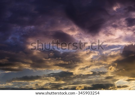 dark sunset sky and glowing cloud, twilight sky before rain storm weather background